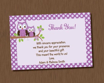 Printable Purple Owl Thank You Card Baby Shower Girl Boy Neutral Birthday Party