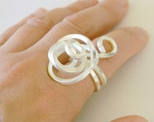 Sterling Silver statement ring, silver spiral ring, sterling silver cocktail ring, swirl ring, wire wrapped ring, silver ring free form OOAK