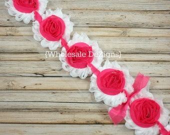 Clearance Hot Pink & White Shabby Chic Chiffon Flowers - Frayed Vintage Rosettes - Hot Pink Center
