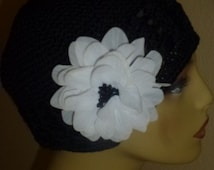Chemo Black Crochet Hat with White Flower with Black center