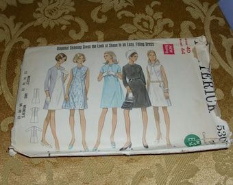 1960's Multi Dress Pattern BUTTERICK size Misses 12 - 18 Women's 38 -42 cut with instructions
