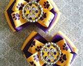 Tiger Girl Inspired Glitter Bottlecap Yellow Gold and Royal Purple Ribbon Piggie Bows