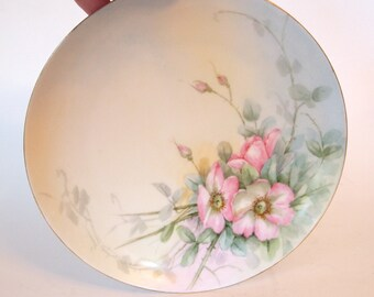Vintage Haviland Limoges China Plate Hand Painted with Pink Roses Porcelain Display Cabinet Plate - Limoges, France - Shabby Cottage Chic