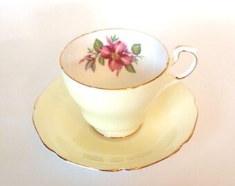 English China Teacup Paragon England Yellow Bone China Tea Cup and Saucer with Violets - England Circa 1960's  Mid Century