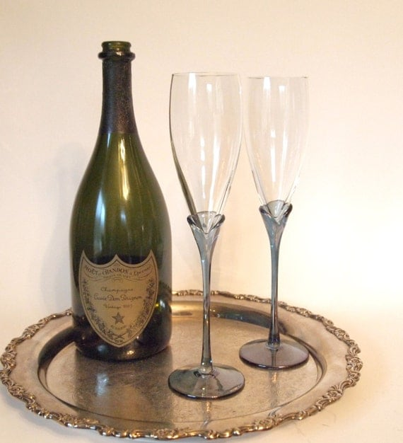 Hand blown crystal champagne toasting flutes with blue stems - Hand blown champagne flutes ...