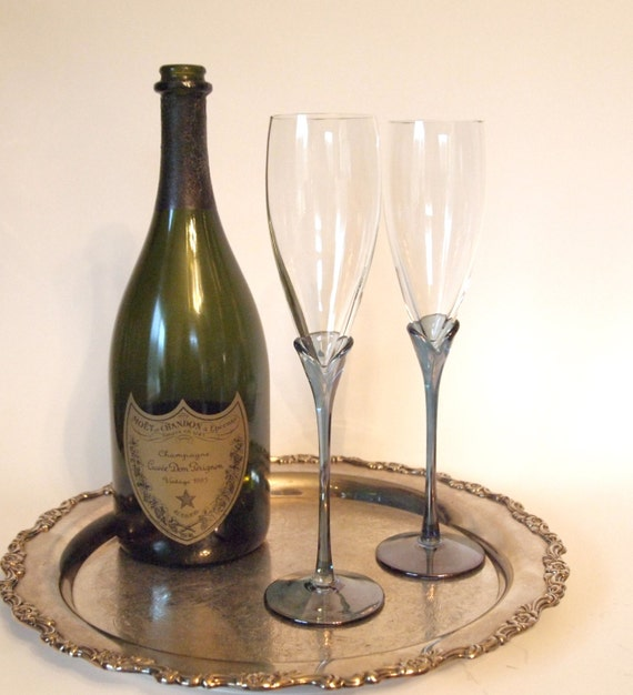 Hand Blown Crystal Champagne Toasting Flutes With Blue Stems