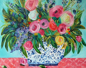 """Flowers in Blue and White Ginger Jar, Floral Still Life, FRAMED Fine Art PRINT, Coral and Aqua, Colorful Blooms, """"Ellie"""" by Carolyn Shultz"""