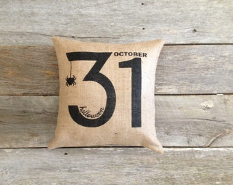 Burlap Halloween Pillow,October 31, burlap pillow, Stenciled Pillow, fall pillow, spider pillow,Halloween, front porch, Halloween decor