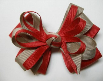 RED Khaki Hair Bow Back to School UNIFORM Boutique Toddler Girl Grosgrain Handmade