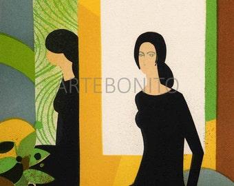 "Andre Minaux ""Jeu de Miroir"" Original Lithograph"