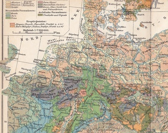 1905 Geographical Map of Central Europe at the end of the 19th Century Dated Antique Map