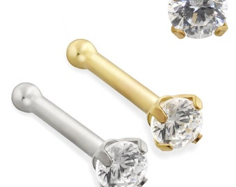 14K Solid Gold Nose Bone with 2mm Clear CZ