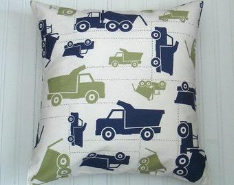 Premier Prints Blue  Trucks Pillow Cover- 16x16 inches- Boys Throw Pillows  - 16 x 16  Decorative Throw Pillow Covers  Trucks Accent Nursery