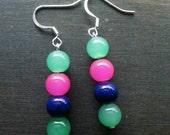 Nickle free teal, pink,  and navy blue glass beaded dangle handmade earrings.
