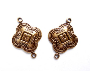 2 Moroccan Style Antique Brass Connectors - 1-MS-12