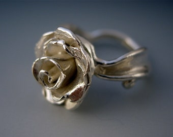 Sterling Silver Rose Ring, Hand Made