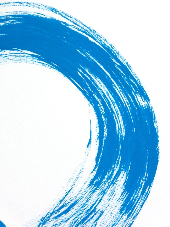 Original Enso Zen Painting Throw Pillows: Blue Enso Original Japanese Calligraphy Wall Art Painting Zen