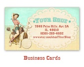 Business cards with Western pinup cowgirl Personalized printable business cards on Digital Collage Sheet - WESTERN BUSINESS CARDS