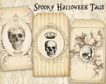 Halloween gift tags Skulls on Printable Digital collage sheet best for Halloween decor, paper craft, paper goods - HALLOWEEN TAGS