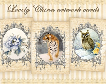 Lovely China artwork cards on Digital collage sheet Greeting cards Printable cards for Scrapbooking Digital backgrounds