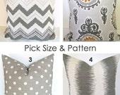 GRAY THROW PILLOWS Gray Pillow Covers Gray Ikat Pillows Gray Chevron pillow Covers Gold Decorative pillows 12x20 16x20 Lumbar All Sizes