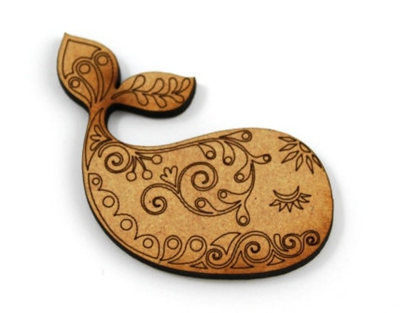 Lasercut Craft Wood Whale – Set of 2. 50 mm Wide Whales. Made of Craft Wood Perfect for Embellishing, Wood Crafts