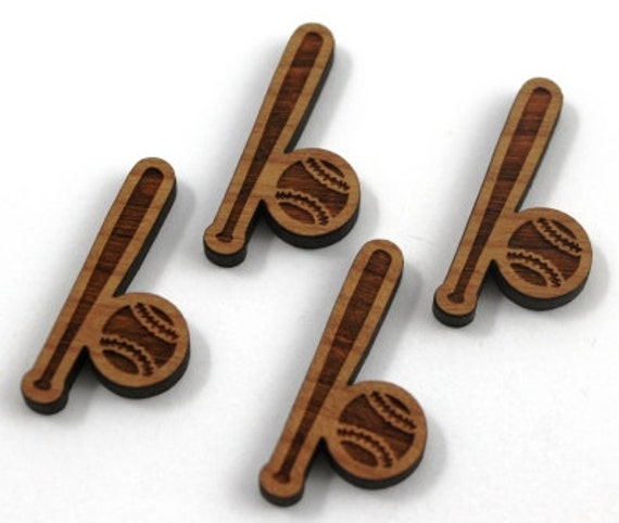Laser Cut Supplies-8 Pieces.Baseball Charms - Cherry Wood Laser Cut Baseball -Earring Supplies- Little Laser Lab Sustainable Wood Products