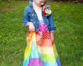 RAINBOW Dress Little Girls Maxi Dress Toddler Maxi Dress Matilda Jane Inspired Dress Beach Dress RAINBOW Maxi Dress   Flower Girl Dress