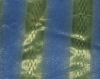 vintage 40's striped blue and chartreuse green brocade curtains