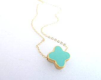 Blue Cross Necklace, Dainty Gold Necklace, Aqua Blue Necklace, Enamel Cross Necklace,Blue Bridal Jewelry,Bridesmaid Gift, Turquoise Jewel