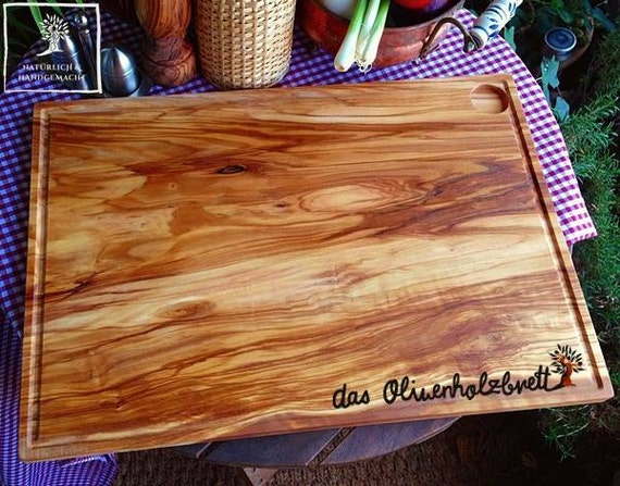 Olive wood cutting board rectangular very big with juice groove