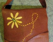 Bee & Flower Leather Bag