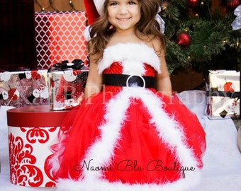 Christmas Mrs Claus Santa Tutu Dress Santa Hat and Rhinestone Belt. Great for costume, Pageant Dress, Holiday photos and School Play
