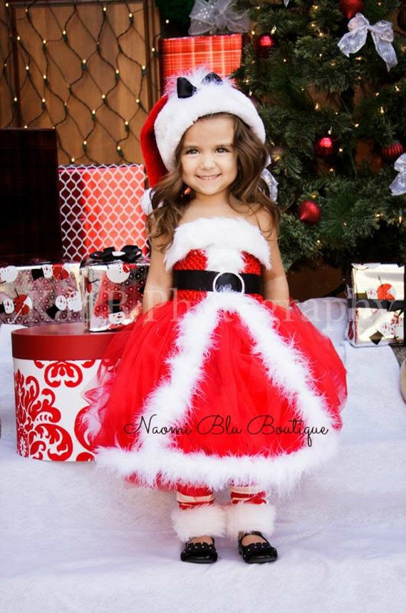 Christmas mrs claus santa tutu dress and rhinestone belt