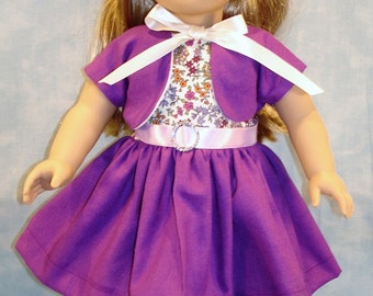 Grape Linen Dress and Jacket made to fit 18 inch dolls