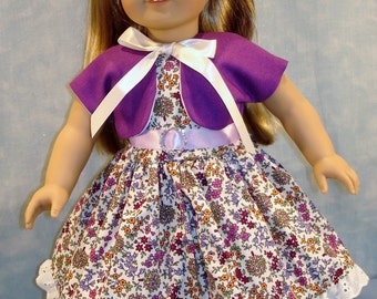 Summer Floral Dress with Grape Linen Jacket made to fit 18 inch dolls