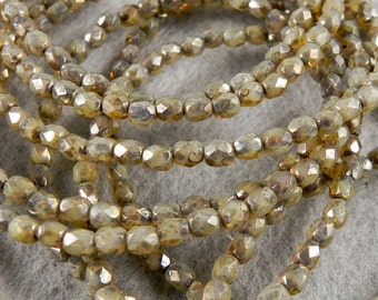 4mm Champagne Fire Polished Faceted bead - Czech Glass Beads - 50 beads - 383 - Champagne Silver Picasso 4mm Fire Polished Beads