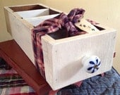 Primitive Sewing/Kitchen Handcrafted Wood Accessory Box