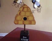 Handmade Beehive Happy Shelf Sitter wood Hand painted primitive