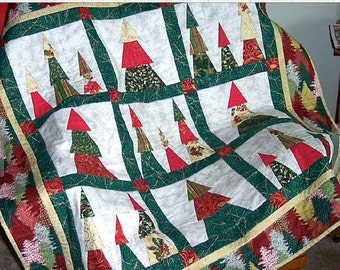 Quilted Christmas Trees, winter, wall hanging, lap quilt, red, white, green, gold.