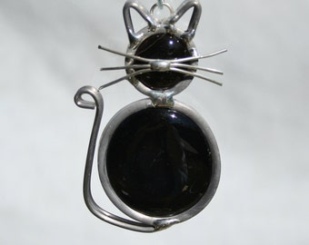 Stained Glass Black Cat Ornament, Sun Catcher