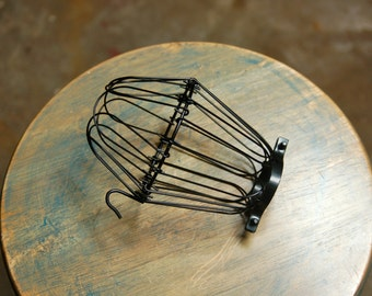 Black Wire Bulb Cage, Clamp On Lamp Guard, For Vintage Trouble Lights - Top Quality Supplies For Your Handmade Lighting, Lamps, Pendants
