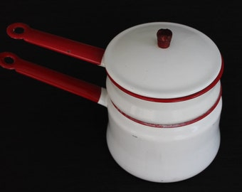 white & red enamelware double boiler pots with lid