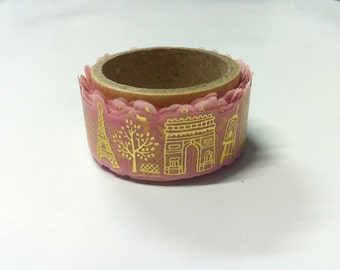ROUND TOP  Masking Tape / rt-mk-032 France / Pink and gold leaf  / 20mm x 5M