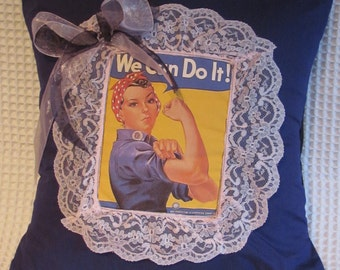 Pin up girl Cushion 'We Can Do It'