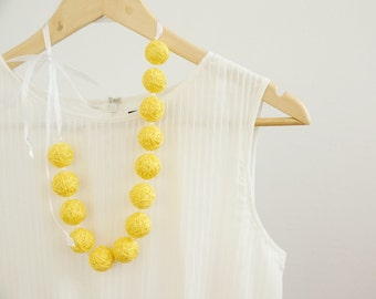 Yellow long beads balls necklace pastel minimalism summer fabric necklace