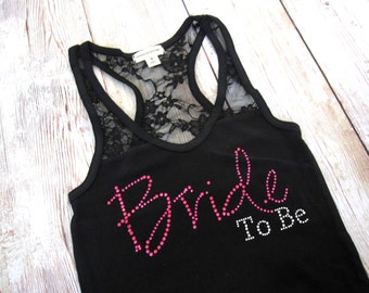 Bride to Be Tank Top. Half Lace. Bride Shirt. Bridesmaid Shirts. Bachelorette Party Shirts. Bridesmaid Tanks. Bachelroette party Tanks. Gift