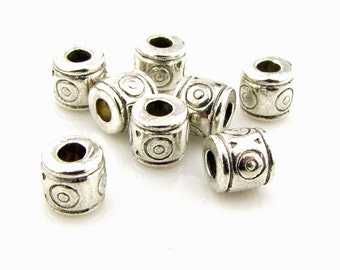 Tibetan silver  spacer beads,3mm hole,  antique silver, 25 pieces