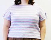 Plus Size - Vintage Pastel Stripe Dolmen Sleeve Knit Blouse (Size 14/16)