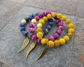 Jasper Blue, Purple or Yellow Beaded Stretch bracelet with Gold and Angel Wing
